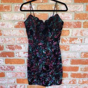Vintage 80s 90s Velvet Floral Fitted Mini Dress